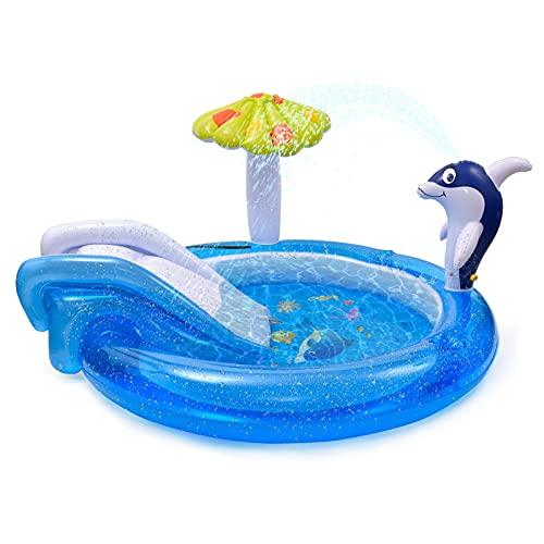 LeKing Centro di Gioco Acquatico con Scivolo, Piscina per Bambini da Giardino con l irrigatore d Acqua Dolphin Spray, Scivolo per Piscina, Piscina Gonfiabile