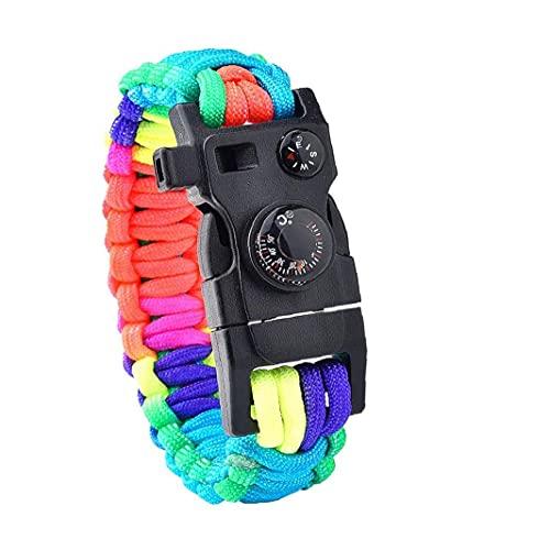 Tuimiyisou Cuerda Multifuncional Engranaje Pulsera De Paracord Kit De Supervivencia Pulsera Kit Equipo De Emergencia del Silbido De Excursión Que Acampa Al Aire Libre