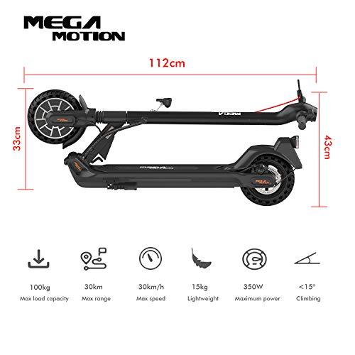 Mega Motion E-Scooter Klappbar Elektroroller Scooter Geschwindigkeit Erwachsene bis 30 Km/h 8.5 Zoll aufblasbares LCD-Display Tragbar Vorderen und Hinteren Rückleuchten(Black) - 7