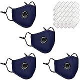 MMLsure Lavabile e Riutilizzabile per Adulti, Confezione da 4 unità + 20 filtri al Carbone PCS, con Valvola di Respirazione Visiera, Antipolvere per attività all'aperto (Blue)