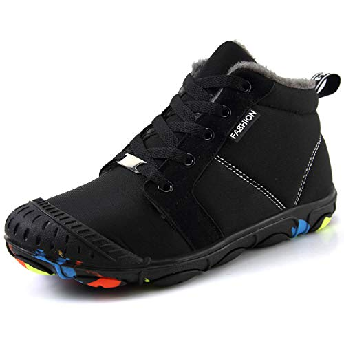 ITAPO Kid's Waterproof Winter Boots Snow Sneakers Boots Lace up Shoes with Fur Lining, Black,4 Big Kids