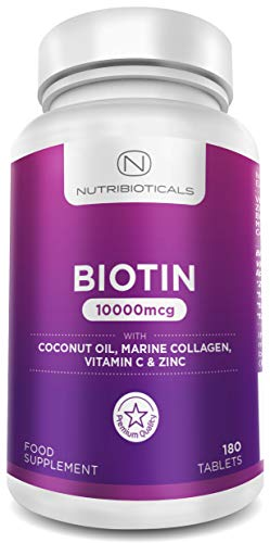 Biotin 10000mcg (Highest Potency) Hair Growth Supplement with Coconut Oil, Marine Collagen, Vitamin C and Zinc | Most Effective Formula | 180 Tablets