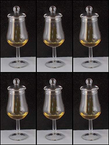 H-BO 6 Tasting Nosing Stil Whisky Whiskey Gläser Form Signatory mit 6 Glasdeckel