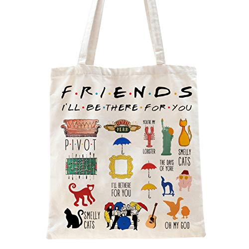 Ihopes Friends Quotes Reusable Tote Bag | Friends TV Show 100% Natural Cotton Tote Bag School Bag Friendship Gifts for Friends Fan/Women/Men | Best Graduation/Birthday/Christmas Gifts Ideas