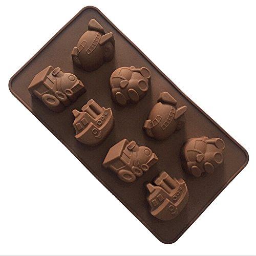 YOKIRIN Silikon Backform Kuchenform Formen Schokoladenform DIY Pralinen Schokolade Süßigkeit Form Muster:8 Fahrzeuge(Farbe Random,21.5 * 12cm)