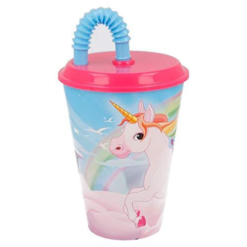 ILS I LOVE SHOPPING Bicchiere Sport con Cannuccia 430 ml per Bambini in plastica (Unicorno Bambina)