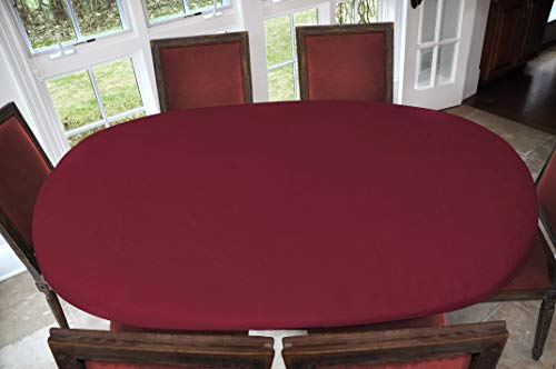 Covers For The Home Deluxe Elastic Edged Flannel Backed Vinyl Fitted Table Cover - Basketweave (Red) Pattern - Oblong/Oval - Fits Tables up to 48' W x 68' L