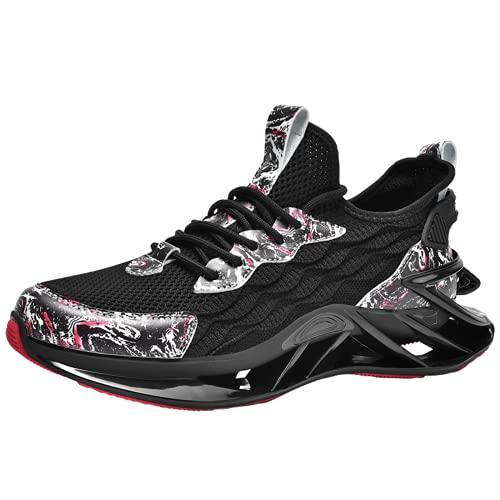 Zapatillas de baloncesto antideslizantes para hombre Zapatillas de correr duraderas para exteriores para fitness, Black, 40 2/3 EU
