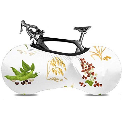 YUXB Fahrrad Radabdeckung Getreide Icons Getreide Pflanzen Weizen Anti-Staub Fahrrad Indoor Aufbewahrungstasche Kratzfest, Waschbar Hochelastische Reifen Paket Straße MTB P