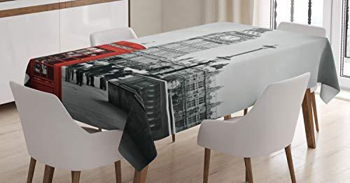 Londres mantel por Ambesonne, famoso cabina de teléfono y el Big Ben en Inglaterra Street View símbolos de Ciudad retro, comedor cocina funda para mesa rectangular, 60W x 84L), rojo, gris