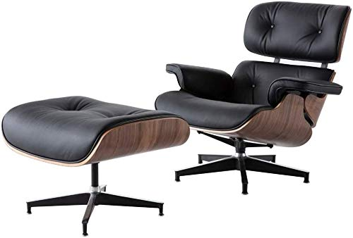WZX Sillón de Cuero Negro Replica Lounge Chair con otomano Chaise Lounge de Madera de Nogal Sillón clásico de Cuero Genuino