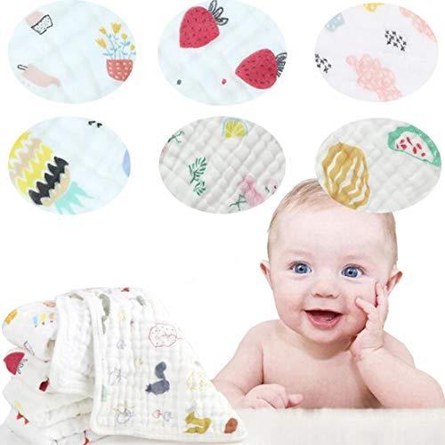 Toallitas de muselina de algodón de 6 capas extra absorbentes para bebé recién nacido toalla para la cara de bebé, paquete de 6 (C, 30,5 cm 30,5 cm)