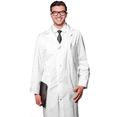 AIESI® Arztkittel Laborkittel Herren weiß medizin labor aus baumwolle 100% sanforized MADE IN ITALY größe 60