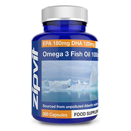 Omega 3 Fish Oil 1000mg, 360 Softgel Capsules. 12 Months Supply. EPA 180mg DHA 120mg. Supports Heart, Brain Function and Eye Health.