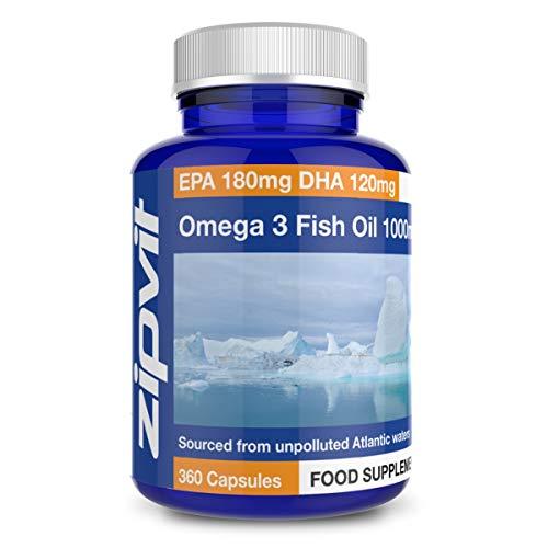 Omega 3 Olio di Pesce 1000mg, 360 Softgels. Fornitura di un Anno. EPA 180mg DHA 120mg. Sostiene la salute del Cuore, del Cervello e degli Occhi.