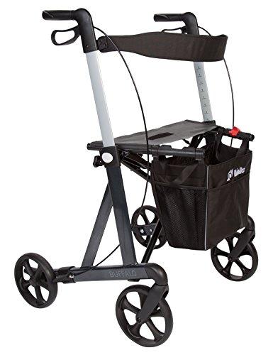 Leichtgewicht Aluminium XL Rollator Buffalo, faltbar, Nutzergewicht bis 200kg, Einkaufstasche, Rückengurt und Stockhalter, Gewicht 7,9kg + 0,4kg Tasche
