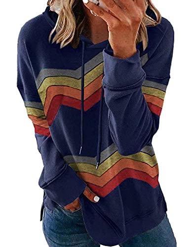 Fangcloudy Women Graphic Printed Sweatshirt Rainbow Long Sleeve Pullover Casual Loose Tops Fashion Blouses, Navy Rainbow Medium
