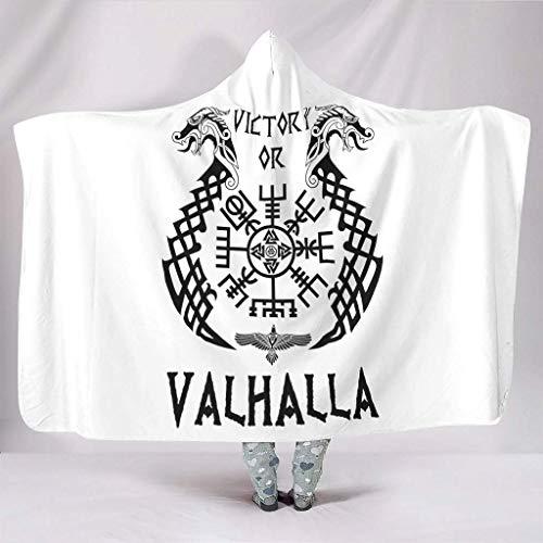 Superweiche Kapuzendecke Weiß Nordic Wikinger Valknut Vegvisir Zwei Drache Celtic Odins Rabe Knoten Tattoo Victory oder...