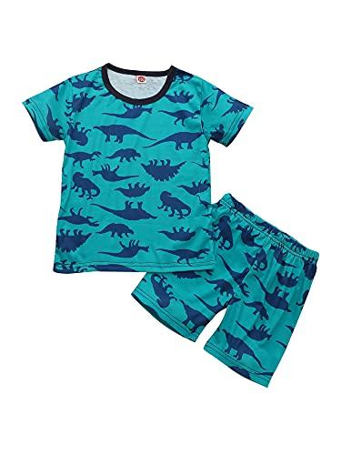 ZZLBUF Conjunto de ropa de 2 piezas, camiseta casual de manga corta con estampado de dinosaurios y pantalones cortos