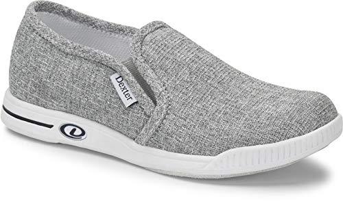 Dexter Comfort Slip On Suzana - Grau/Twill - Bowling-Schuhe Damen, für Rechts- und Linkshänder in den Schuhgrößen 36-41 und Mein-Bowlingshop Schuhtasche im Set Größe 38