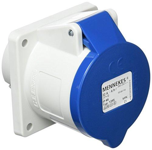 Mennekes 101100217Basi semi incasso CEE, Prese di corrente, 230V, 50–60hz, 32A, 3poli, IP 44, 10pacchi, Blu