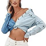 Dril De Algodón De Esencial Mujeres Breasted Las Colores Mezclados De Solapa Frontal Bolsillos En El Pecho De La Manga Larga De Las Mujeres Adornadas Otoño Ocasionales De La Camisa Blusas Atractivas