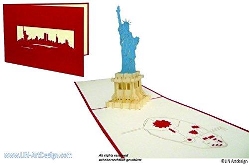 3D Karte POP UP Architektur Freiheitsstatue, New York, Amerika (#186)