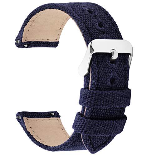 8 Colori per Cinturino Orologio a Sgancio Rapido, Fullmosa Tela Militare Cinturino per Orologio 24mm,22mm,20mm,18mm,16mm,14mm,Cinturino per Uomo e Donna,22mm blu scuro