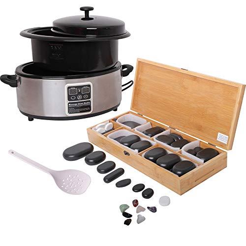 Hot Stone Massage Set Medium - Wärmegerät Erwärmer ca. 5,5 Liter + 64 Basaltsteine/Wärmesteine - Heiße Steine Set für die Wärmebehandlung aus Basalt