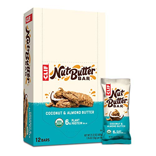 CLIF Nut Butter Bar - Organic Snack Bars - Coconut Almond Butter - Organic - Plant Protein - Non-GMO (1.76 Ounce Protein Snack Bars, 12 Count)