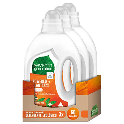Seventh Generation Fresh Orange Detergente Ecológico para Ropa - 3 x 20 Lavados, Total: 60 Lavados