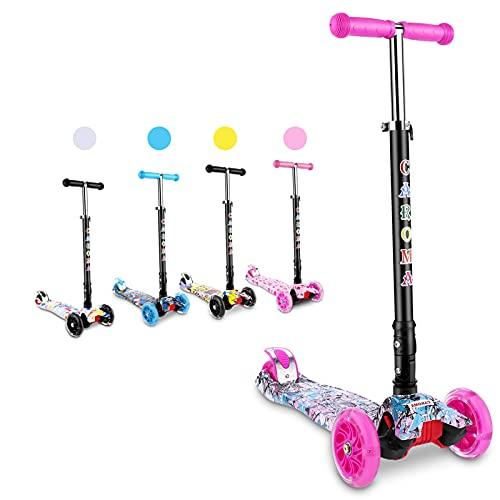 Caroma Patinete infantil con 3 ruedas de poliuretano con luces LED, altura regulable y manillar plegable, para niños a partir de 2 – 8 años (graffiti)), color rosa