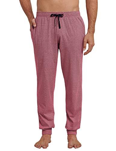 Schiesser Herren Mix & Relax Hose lang Bündchen Schlafanzughose, Rot 500, Large (Herstellergröße: 052)