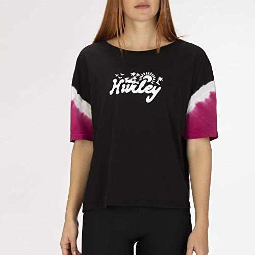 Hurley W Jonesy Dip Dye Flouncy Tee Shirts Femme, Black, FR : L (Taille Fabricant : L)