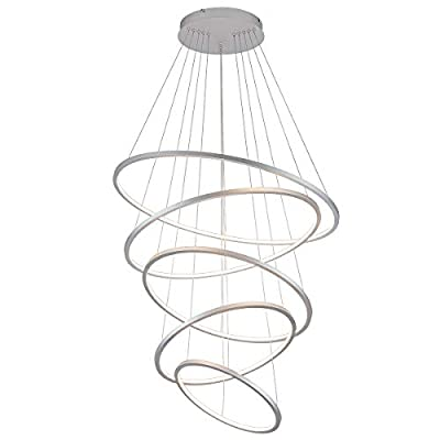 Royal Pearl Modern Led Chandelier Dimmable Pendant Lighting Adjustable Hanging Light 5 Rings Collection Contemporary Ceiling Pendant Light