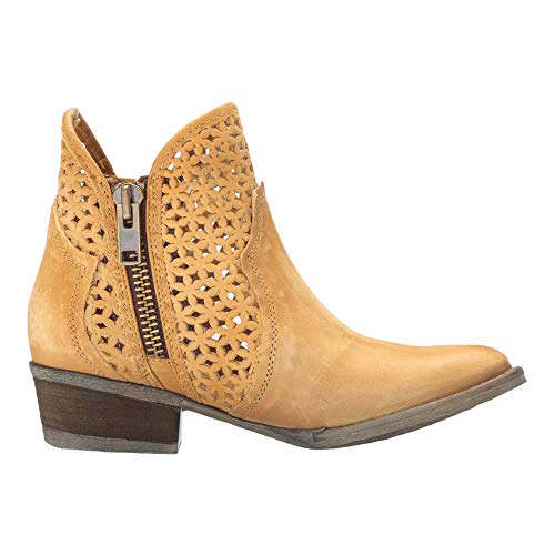 Corral Boots Womens 5-inch Circle G Cowhide Leather Round Toe Tan Cutout Shortie Western Boot