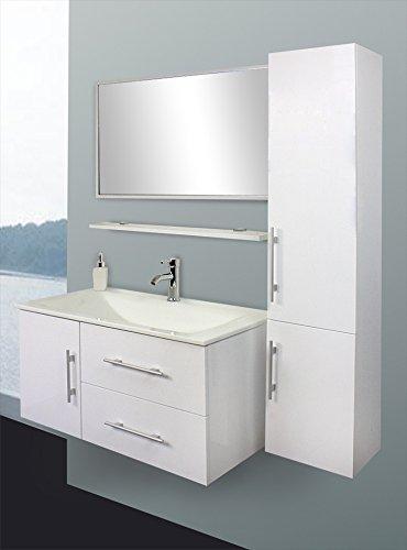 Design Badezimmermöbel Badmöbel Set Waschbecken Schrank Spiegel weiß | HL1404