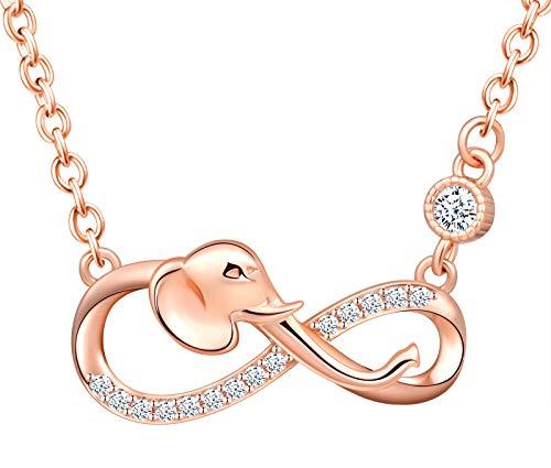 INFINIONLY Collar para mujer niña, juegos de joyas Collar de plata esterlina 925, collare colgante símbolo de infinito y elefante lindo, incrustación de zirconia, oro rosa