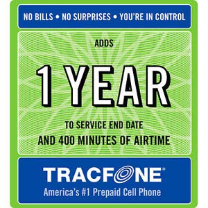 tracfone 1 Year Service 400 Minute Large Print PIN (8.5'X11) -  INCOMM/TRACFONE, 606960004547