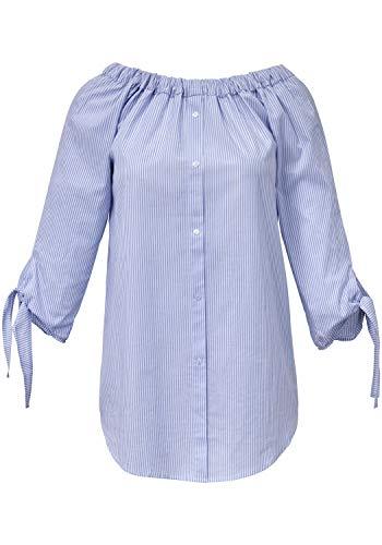 EMILIA LAY Damen Streifen-Bluse 3/4-Arm Gummizug