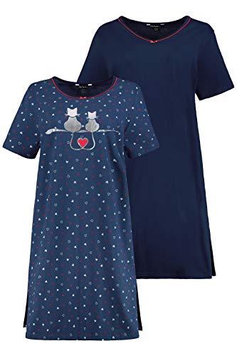 Ulla Popken Damen große Größen Bigshirt, 2er Pack, Herzen-Organic Nachthemd, Blau (Taubenblau 72789973), 46-48