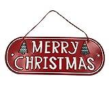 BOSSTER Cartel Colgante de Navidad Hierro Feliz Navidad Tablero Merry Christmas Letrero de Puerta para Decoración de Fiesta de Navidad 30 * 24cm