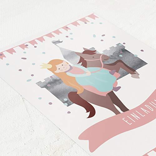 sendmoments Schönes Prinzessinnen Motiv, Kindergeburtstag Einladungskarten für Mädchen, mit vorgedruckten Feldern, Lückentext zum Ausfüllen, 5er Karten-Set, Postkarte C6, optional mit Umschlägen