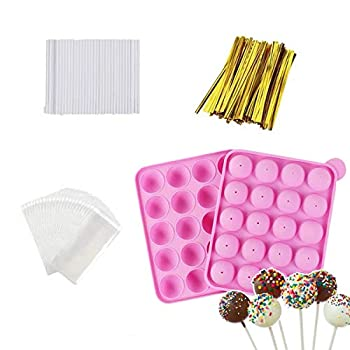 Akingshop 20 Cavity Silicone Cake Pop Mold Set - Lollipop Mold with 60Pcs Cake Pop Sticks Candy Treat Bags Gold Twist Ties Great For Lollipop Hard Candy Cake Pop and Chocolate