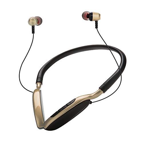 FANG Manos Libres Bluetooth Auricular,Neck Hanging Bluetooth Headphone-Golden,Auriculares De Negocios