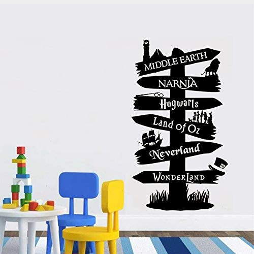 Zybnb Wandtattoo Vinyl Aufkleber Storybook Wegweiser FandomHerr Des Rings Narnia Peter Pan Typografie Tür Wandbilder57X100Cm