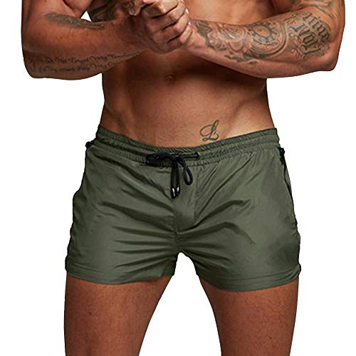 A WATERWANG Men's Running Shorts, Quick Dry Swim Trunks with Zipper Pocket for Swimming Jogging Gym Workout Green