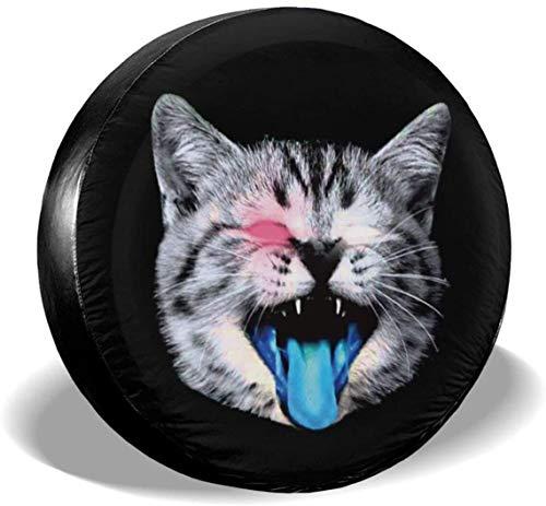 MODORSAN Speaking Space Cat - Cubierta de Rueda de Repuesto para neumáticos, de poliéster, Cubiertas de Ruedas universales para Jeep, Remolque, RV, SUV, camión, Accesorios, 17 Pulgadas