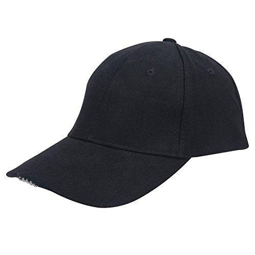 Dioche Angeln Led Hut, Leichte Hohe Helligkeit LED Baumwolle Baseball Hut Hände Frei Scheinwerfer Cap für Nachtfischen Camping Jogging(Schwarz)