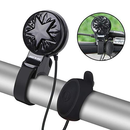 Hootracker Timbre de Bicicleta, de 120 db, con Certificado CE y ROHS, 4 Modos de Sonido, USB, Recargable,Resistente al Agua, para Bicicleta de, Negro